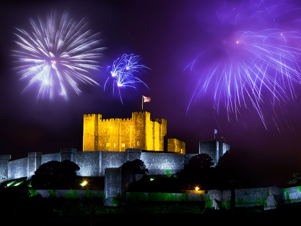 Fireworks over Dover Harbour during SONG FOR DOVER co-composed by Helen Chadwick for the arrival of the Olympic Torch